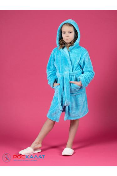 Детский халат с капюшоном из велсофта