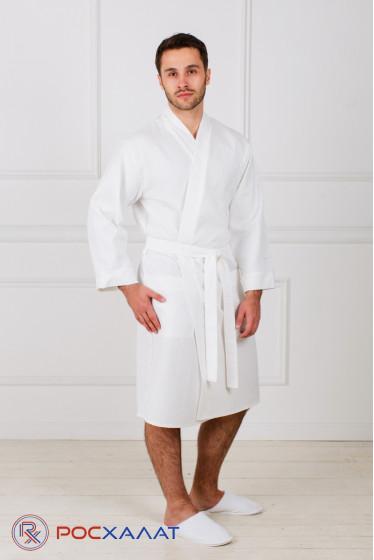 Белый укороченный махровый халат с планкой унисекс