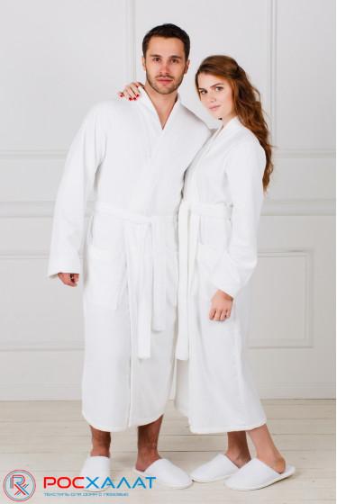 Белый махровый халат с планкой  унисекс