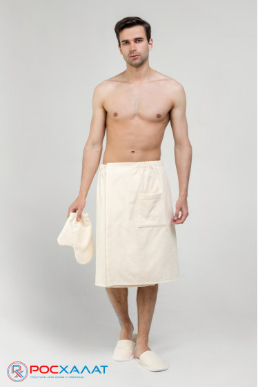 Мужской махровый банный комплект (килт на пуговицах и варежка)