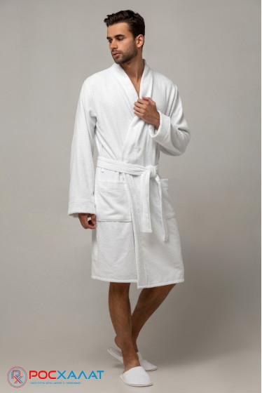 Мужской облегченный махровый халат с планкой