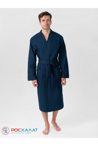Мужской вафельный халат с планкой