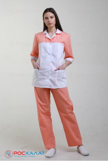 Женский медицинский костюм с отделкой, куртка и брюки