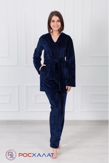 Женский костюм из велюра, брюки и халат