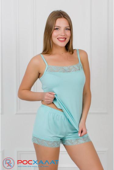 Пижама из вискозы с кружевом, топ и шорты