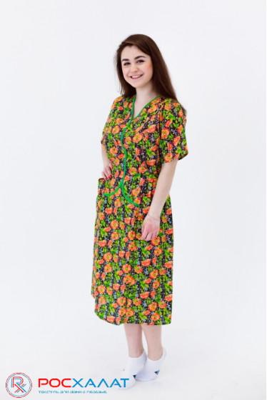 Женский бязевое платье с V-образным вырезом
