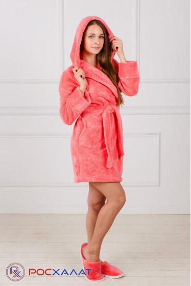 Укороченный халат с капюшоном из велсофта