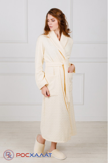 Жаккардовый женский махровый халат с шалькой