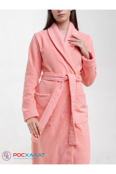 Женский махровый халат с жаккардовой отделкой, воротник шалька