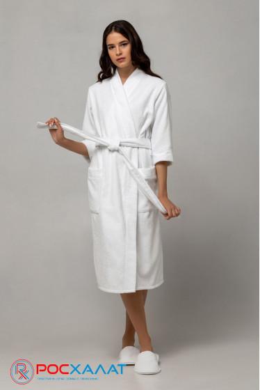 Женский облегченный махровый халат с планкой