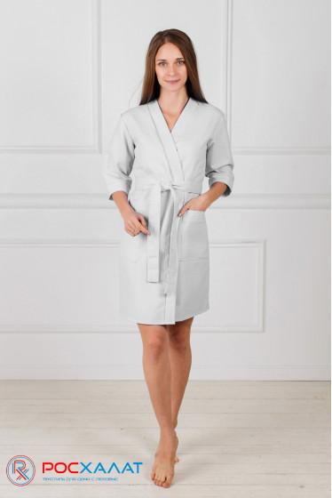 Женский укороченный вафельный халат с планкой