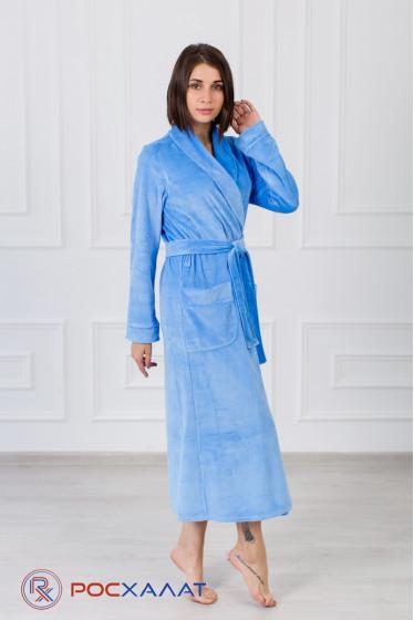 Женский велюровый халат с шалькой